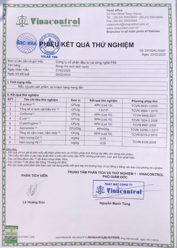 rong nho sabudo đảm bảo an toàn chất lượng