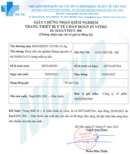 KIT test COVID-19 BIOCREDIT được Bộ Y tế Việt Nam chứng nhận